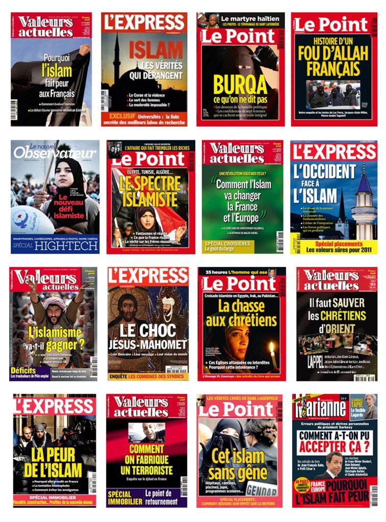 Les multiples Unes sur l'islam dans la presse française.